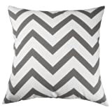 Decorative Pillow Cover - Decor Scandinavia Canvas Cotton Chevron Design Decorative Throw Pillow Cover 18 X 18 in. (Charcoal Gray) (18x18inch, color2)