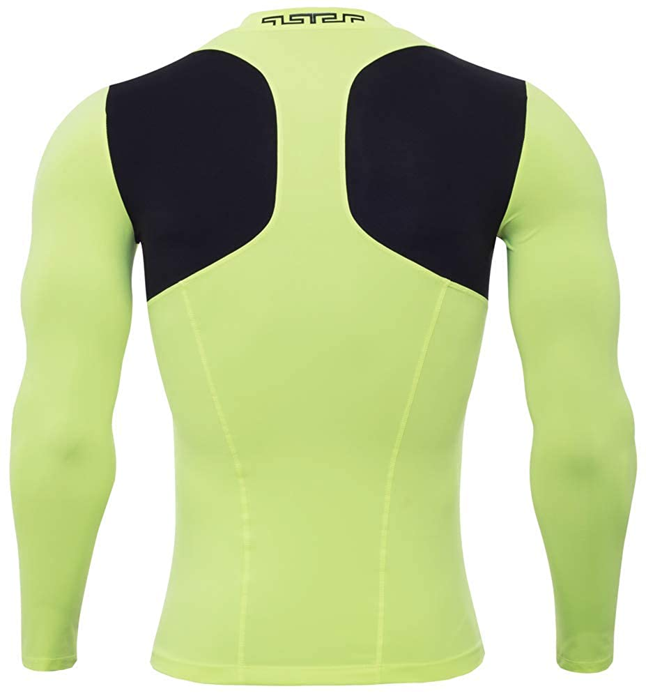 TuGui Mens Compression Stretch Sports Running Fitness Dry Long Sleeve Tight T-Shirts
