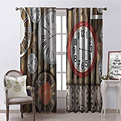 GUUVOR Clock Wear-Resistant Color Curtain Antique Clocks on The Wall Instruments of Time Vintage Design Pattern Artwork Waterproof Fabric W84 x G96 Inch Brown and Red