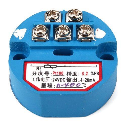 DC 24V RTD PT100 Temperature Sensor Transmitter Range 0 to 400C Accuracy 0.2% FS