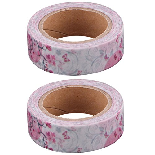 uxcell Flower Print Office Handcraft Scrapbooking Washi Tape Roll 1.5cm x 10M 2pcs