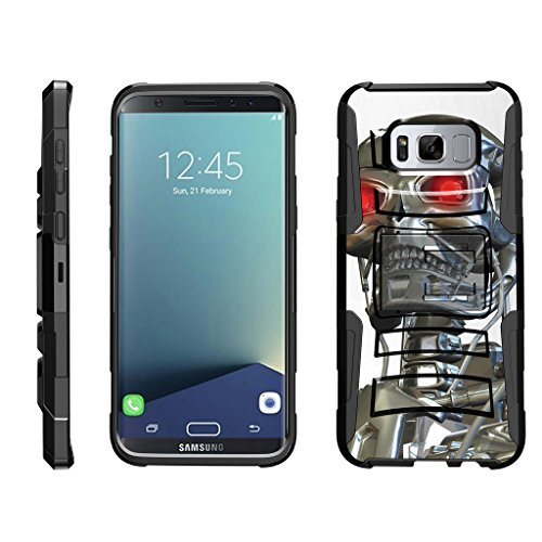 TurtleArmor | Compatible for Samsung Galaxy S8+ Case | S8 Plus Case | G955 [Hyper Shock] Rugged Hybrid Shell Kickstand Case Holster Belt Clip Robot Military War Army Design - Terminator Robot