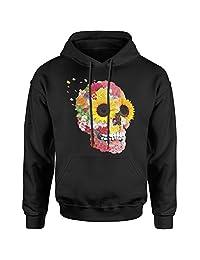 Expression Tees Sunflower Skull Unisex Adult Hoodie