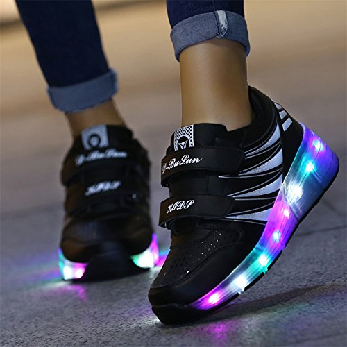 SIKAINI LED Zapatillas Deporte Patín ruedas Luminoso Formadores Niños LED con Un Adulto Rueda Intermitente Zapatos Black-988