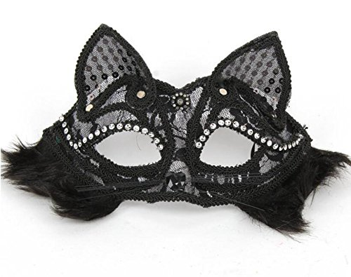 Monbedos Personalized Cat Face Lace Masquerade Mask Makeup Mask Face Eye Mask for Halloween CarnivalParty Mardi Gras Halloween