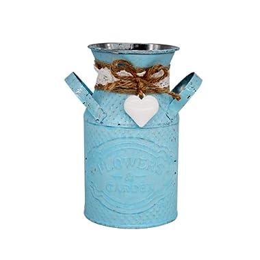 TZP Round Cylindrical Flower Plant Pot Planter Iron Art Garden Living Room Decor - Blue