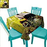 """Panda Easy Care Tablecloth Big Panda Sitting Forest Eating Bamboo Tree Trunk Foliage Wilderness Picture Print Indoor Outdoor Camping Picnic 60"""" Wx84 L Green Black"""