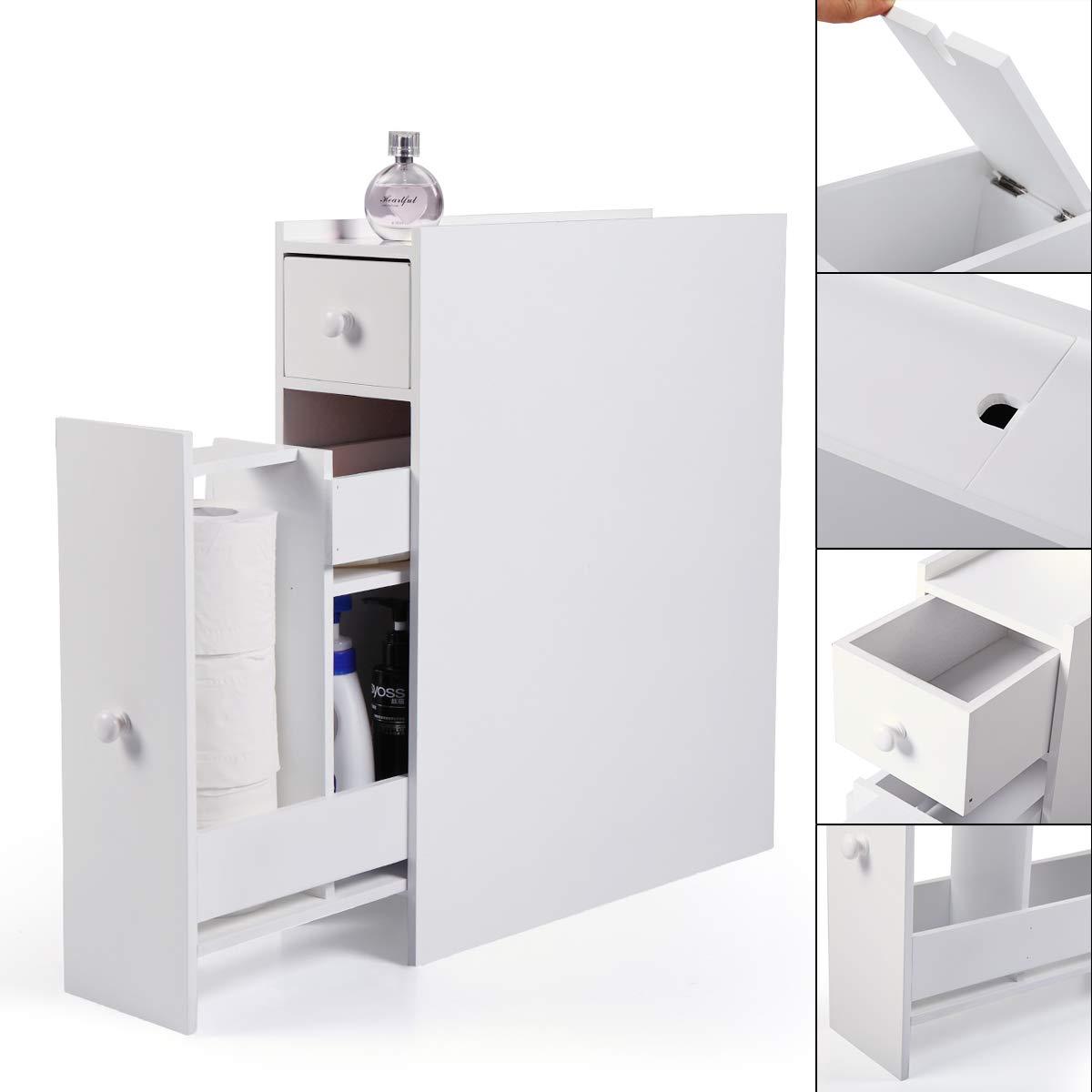 JAXPETY Wood Bathroom Storage Floor Cabinet Toilet Organizer w/Drawers White by JAXPETY