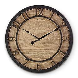 PresenTime & Co 10 Farmhouse Series Wall Clock, Cottage Style, Vintage Design, Oil Rubbed Antique Bronze Finish