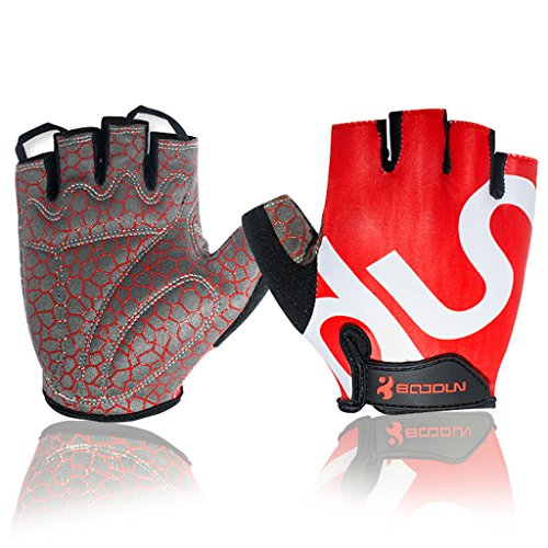 Fred&LC New Fashion Cycling Gloves Mountain Bike Road Racing Bicycle Motorcycle Riding Shockproof Foam PaddedOutdoor Sports Half Finger Short Gloves Men/Women (Short Gloves Finger Bike)
