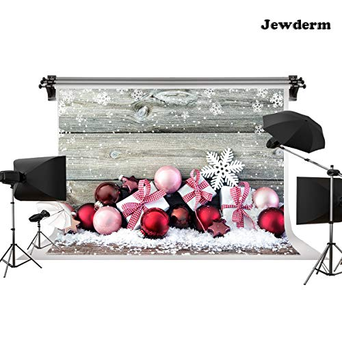 Jewderm 10x6.5ft Wooden Wall Presents Photo Backgrounds Vintage Winter Snowflake Bells Gifts Boxes Photography Backdrops Event Video Holiday Festival Props