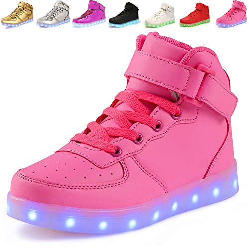 ANLUKE Kids High Top Light Up LED Shoes 11 Colors Sneakers as Gift for Boys Girls Men Women Pink 32