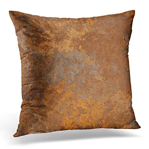 Emvency Throw Pillow Covers Case Brown Copper Old Rusty Metal High Resolution Orange Rustic Decorative Pillowcase Cushion Cover Sofa Bedroom Car 20 x 20 ()