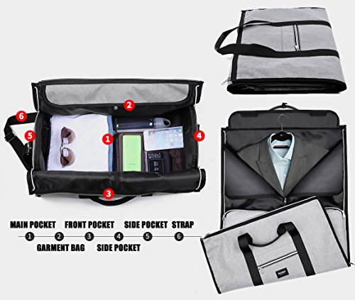 RUIMA Travel Garment Bag With Pocket, Mens Garment Bag Folding Design For Business Trip Or Other Formal Occasion. Hanging Garment Bag & Carryon Garment Bag Two-In-One (BLACK) by RUIMA (Image #4)