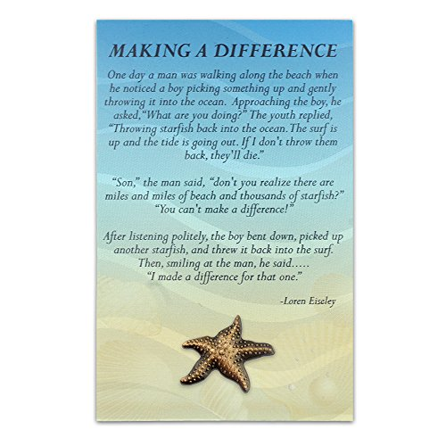 PinMart's Starfish Lapel Pin with Presentation Recognition Card 4-1/4 inch x 2-3/4 (Starfish Story Gifts)