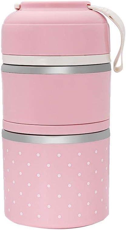 Nicedier-Tech Box Lunch Mano Portable Caja de Almuerzo Doble Capa de Acero Inoxidable Almuerzo Bento Box Jar 1.8L Aislamiento envase de alimento 1pc Rosa