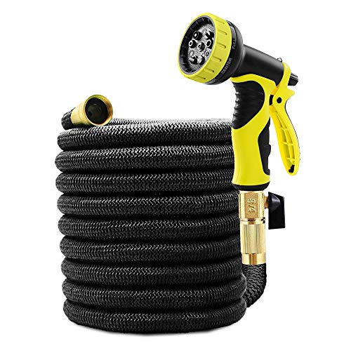 Caferria Garden Hose Expandable Water Hose 75ft Lightweight 3/4″ Solid Brass Fittings Extra Strength Fabric Triple Latex Core Flexible Hose with 9 Mode Spray Nozzle for Lawn Plants Car Washing (Black)