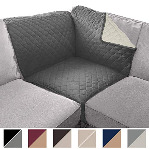 Sofa Shield Original Patent Pending Sectional Corner, 30 Inchx30 Inch Slipcover, 2 Inch Strap Hook, Washable Furniture Protector, Slip Cover for Cats, Kids Pets, Sectional Corner, Charcoal Linen