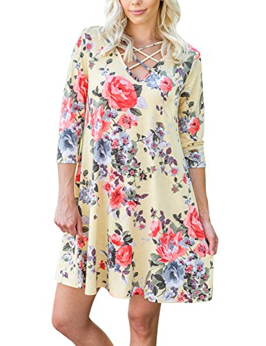 MEROKEETY Women's Floral Print Criss Cross Casual Dress U Neck Half Sleeve Lace Up T Shirt Tunic Swing Flowy - Cross Half