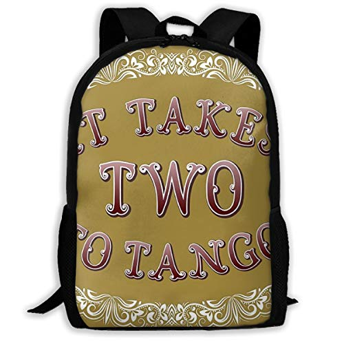 SARA NELL School Backpack It Takes Two To Tango Cartoon Style English Bookbag Casual Travel Bag For Teen Boys Girls