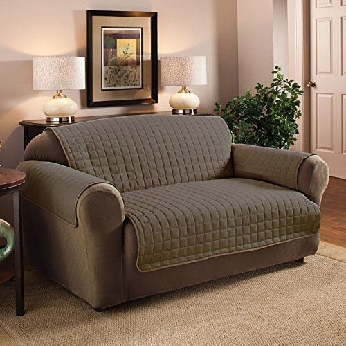 Sweet Home Collection Luxury Furniture Protector with Quilted Design Preserves Sofa/Loveseat/Chair, Loveseat/Natural/Taupe