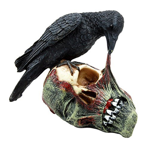 Ebros T Virus Infected Raven Crow Feeding on Zombie Flesh Decorative Figurine 4.25