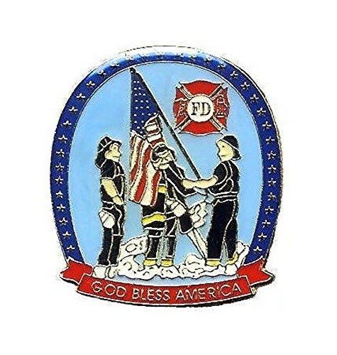 (Fire Dept Lapel Pin God Bless America Hat Tie Tac Brass CHN)