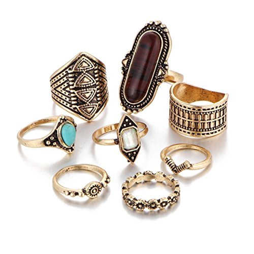 - Malloom 8pcs/Set Women Jewelry Boho Crystal Flower Nail Stack Ring Above Knuckle Blue Rings Set (Gold)