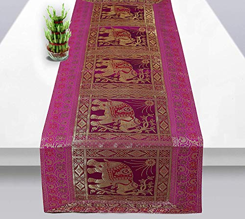 Real Online Seller Rajasthani Hand Art Work Elephant Design Silk Table Runner & Tablecloth 58 x 16 ()