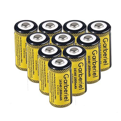 Garberiel 10-Pack 3.7v 16340 Li-ion Rechargeable Battery CR123A Battery for LED Flashlight