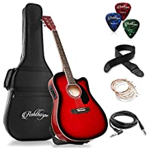 Ashthorpe Full-Size Cutaway Thinline Acoustic-Electric Guitar Package - Premium Tonewoods - Red
