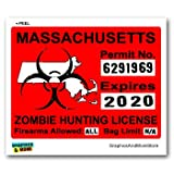Massachusetts MA Zombie Hunting License Permit Red - Biohazard Response Team - Window Bumper Locker Sticker