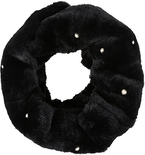 Sakkas 16104 - Sabby Long Thin Faux Fur Pearl Embellishment Warm Soft Infinity Scarf - Black - OS ()