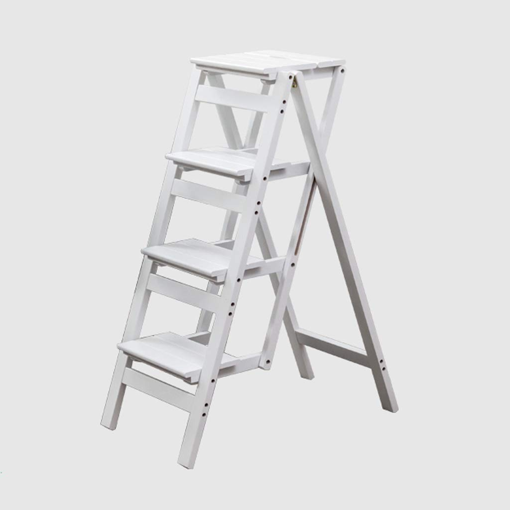 White 4 steps NYDZDM Ladder Stool Wooden Folding Stepladder Step Stool for Adults & Kids Kitchen Ladders Small Foot Stools Portable shoes Bench Flower Rack (color   White, Size   2 Steps)