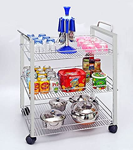Sterling Kitchen Trolley With Wheels For Serving Stainless Steel Trolley Standard For Kitchen 3 Tier Amazon In Furniture