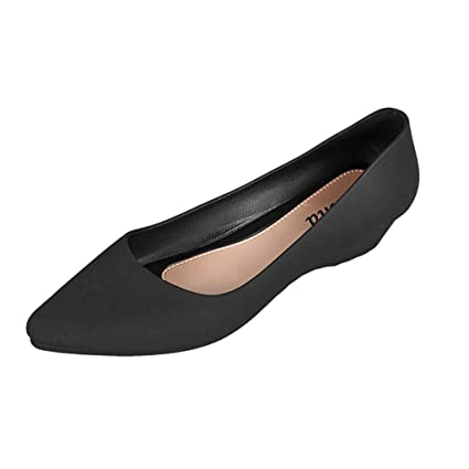 ffdb716d40d Image Unavailable. Image not available for. Color  Leadmall Women Ballet Wedge  Shoes - Ladies Casual Slip On Closed Pointed Toe ...