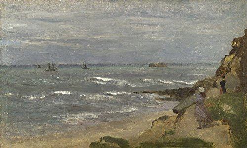 Oil Painting 'Follower Of Jean Baptiste Camille Corot Seascape With Figures On Cliffs ' Printing On Perfect Effect Canvas , 10 X 17 Inch / 25 X 42 Cm ,the Best Home Theater Gallery Art And Home Decoration And Gifts Is This Reproductions Art Decorative Prints On Canvas