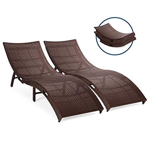 Best Choice Products Set of 2 Patio All-Weather Folding Rattan Wicker Chaise Lounge Chairs, Furniture for Outdoor, Poolside w/Side Handles, Steel Frame, Stackable Design, No Assembly Required - Brown