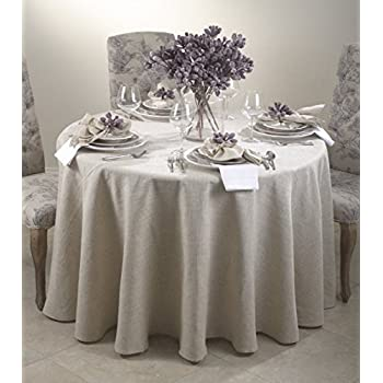 Toscana Classic Natural Round Tablecloth. One Piece. (90 Inch Round)