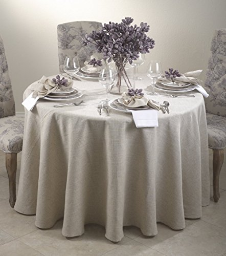 Toscana Classic Natural Tablecloth. One Piece. (120 Inch Round) by Fennco Styles
