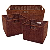 Rattan Wired Storage Baskets - 1 Large and 2 Small Storage Bins - Set of 3 - Antique Walnut