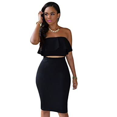 Kalin L Women S Ruffle Crop Top Maxi Skirt Set 2 Piece Outfit