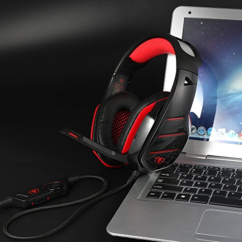PS4 Headset, PS4 Headphones, PC Gaming Headset with LED light, Over-ear Professinal Gaming Headphones with Mic 3.5mm, Christmas Gifts, Noise Reduction Bass Headsets for PC, Laptops, Tablets. by IMMOSO (Image #6)