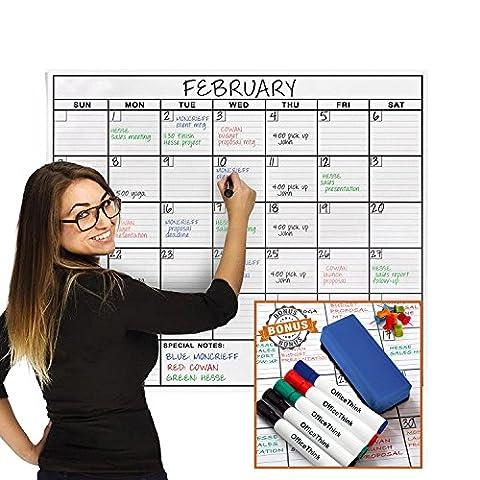 OfficeThink Laminated Jumbo Organizing Calendar, Huge 36-Inch by 48-Inch Size, Extra Large Date Boxes, Easy Erase PET Film, Never Folded, Bonus 8 Jumbo Tacks, 5 Markers, 1 Eraser Included