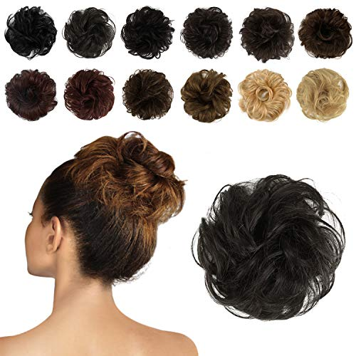 FESHFEN 100% Human Hair Scrunchies (1B Natural Black) Curly Messy Hair Bun Extensions Wedding Hair Pieces for Women Kids Hair Updo Donut Chignons