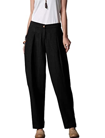 7fc6f67944cc Minibee Women's Casual Linen Pants Elastic Waist Tapered Pants Trousers  With Pockets Black M