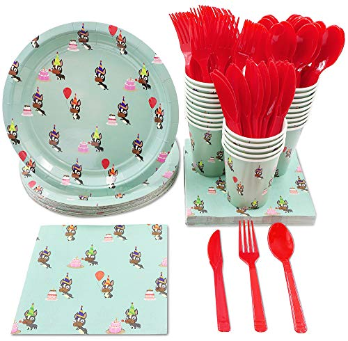 Animal Party Supplies – Serves 24 – Includes Plates, Knives, Spoons, Forks, Cups and Napkins. Perfect Birthday Party Pack for Dog Lovers Themed, Kids Birthday Parties, Bulldog Pattern