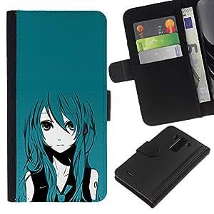 LG G3 D855 D850 D851 , la tarjeta de Crédito Slots PU Funda de cuero Monedero caso cubierta de piel ( Anime Girl Turquoise Hair Big Eyes Cartoon Art)