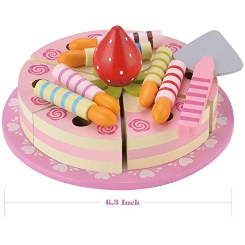 KIDS TOYLAND Jeu de nourriture en bois pour les enfants gâteau rose Pretend-play Dessert Joyeux anniversaire Party (15 pcs)