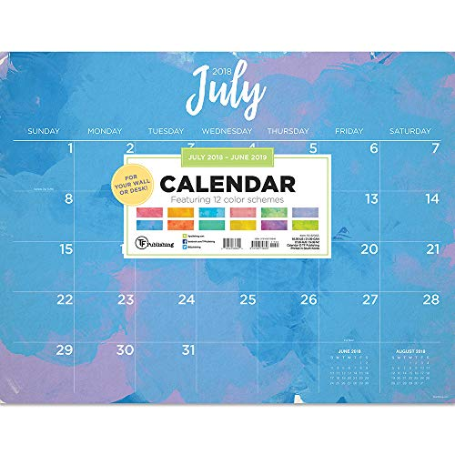 TF Publishing 19-8235A July 2018 - June 2019 Watercolor Desk Pad Calendar, 22 x 17